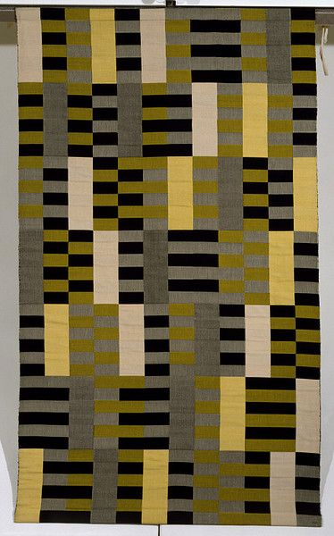 Germany (made) Date: 1967 (made) 1926 (designed) Artist/Maker: Stölzl, Gunta (weaver) Albers, Anni (designer) Materials and Techniques: Woven silk and rayon Anni Albers studied weaving because it was the only course open to women at the Weimar Bauhaus, an institution founded by Walter Gropius (1883-1969) to train architects, artists and industrial designers. Its aim was to unite architecture and the fine and applied arts. Anni Albers often looked to her colleague Gunta Stölzl...