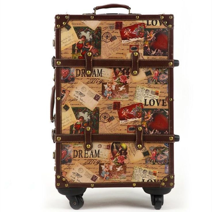 62.32$  Buy here - http://alii9t.worldwells.pw/go.php?t=1000002220003 - 14 20 24inch suitcase HardShell PU leather+Wood 4 Wheels A set Travel Trolley Painting Cabin Luggage Retro board chassis lockbox