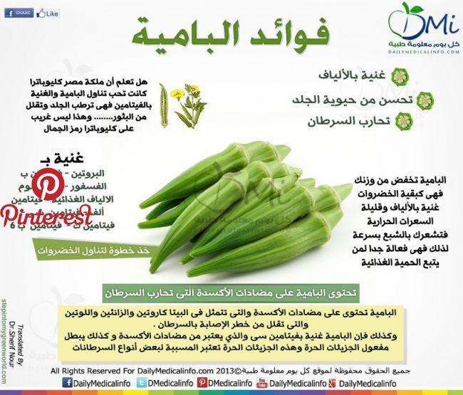 انفوجرافيك فوائد البامية انفوجرافيك طبية كل يوم معلومة طبية Sante Pinterest Health Fitness Health Facts Food Health Food Health Fitness Nutrition