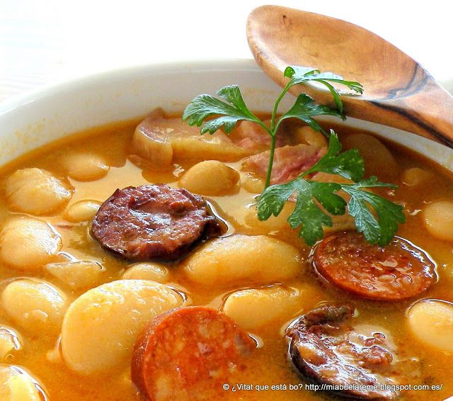 Fabada Asturiana - Traditional stew from Asturias made with beans, chorizo, black pudding, pork and bacon.