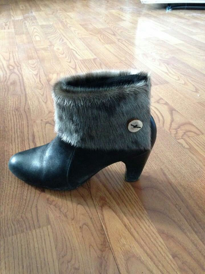 Sealskin Boot Toppers with Caribou Antler buttons for short boots