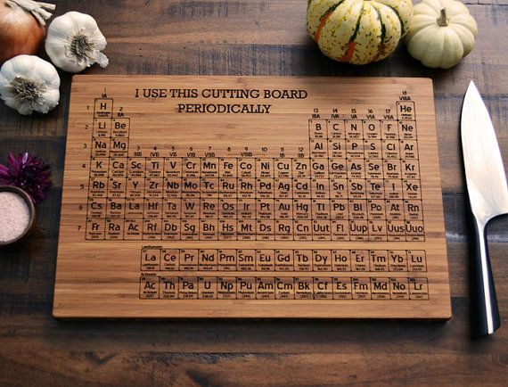 Personalized Bamboo Cutting Board,  Periodic Table of the Elements, science teacher graduation gift, wedding gift, chemistry art, Geekery on Etsy, £28.49
