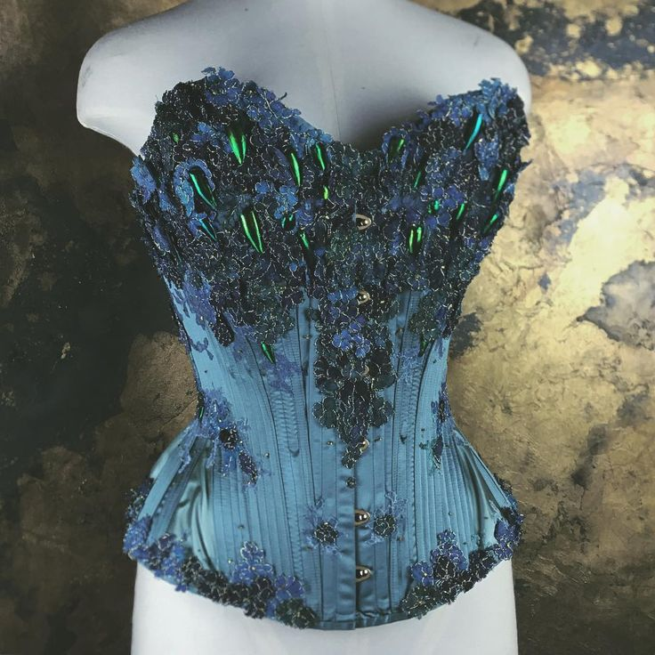 The Scarab corset. Bespoke by Sparklewren. All about self-creation and rebirth with a silk duchess base. Very lightly constructed using authentic Victorian/Edwardian methods, heavily adapted from an antique pattern by Atelier Sylphe (highly recommended).