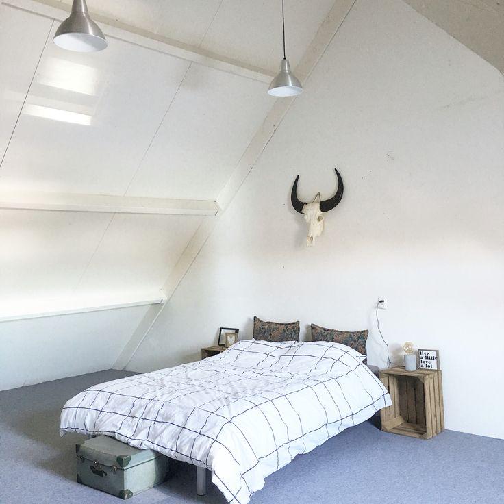 Happy met mijn zolder slaapkamer! | interior, buffel schedel, bohemian, vintage
