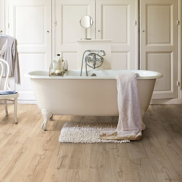Bathroom Inspiration From Ids Our Quick Step Classic Oak Beige Flooring Is Perfect For Any Home Quick Step Impressive Im1847 Laminate Flooring Bathroom Waterproof Laminate Flooring Bathroom Flooring