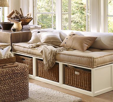 Stratton Daybed with Baskets #potterybarn - Would need to expand to the next room if they wanted a daybed as well as a rocker.