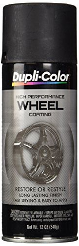 Dupli-Color HWP104 Black High Performance Wheel Paint - 12 oz. - Dupli Colors high performance wheel coating will customize or dress up worn out wheels. It's the spray-on solution that creates a custom look. The advanced, track tested acrylic enamel formula restores original wheel appearance and protects wheels. It resists brake dust, chemicals, cleaning solve...
