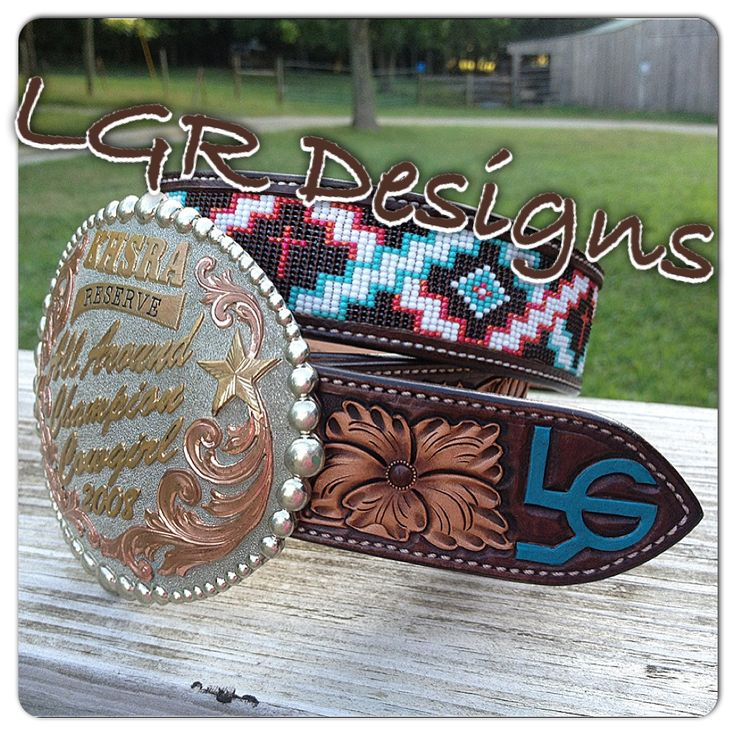 Handmade custom beaded belt from LGR Designs with Bar U Custom Leather. Find us on Facebook!