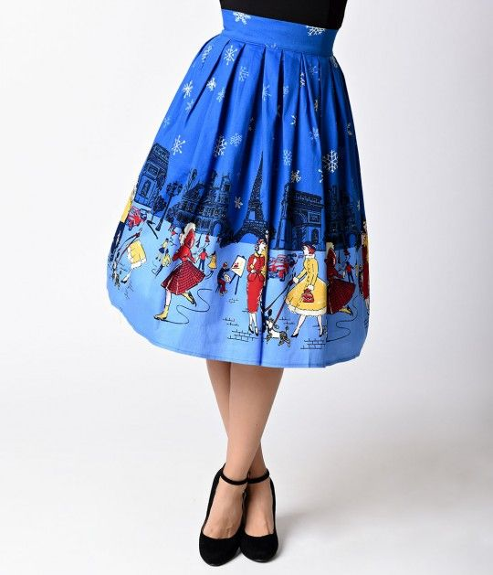 Banned 1950s Blue Cotton Romance Lives High Waist Circle Skirt