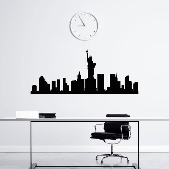 New York Skyline Wall Decal Vinyl Sticker NYC Skyline City Scape Silhouette Decals Offiice College Dorm Living Room Wall Art Home Decor