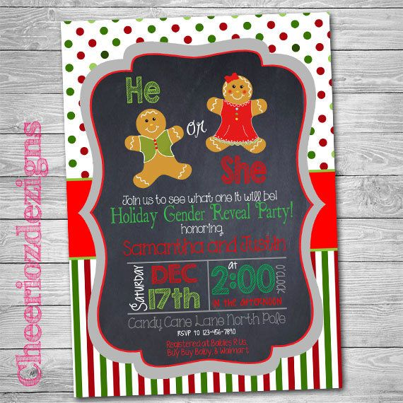 Ginger Bread Gender Reveal Party Invitation- Christmas theme - Boy or Girl- Digital File by CheeriozDezigns on Etsy