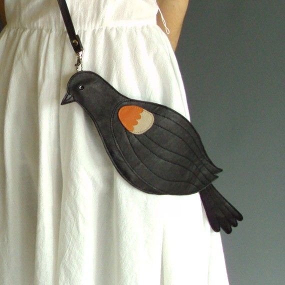Leather Red Winged Blackbird Bag Clutch.  via Etsy.