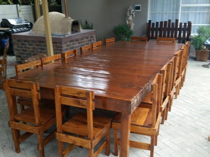 25 best ideas about pallet dining tables on pinterest for Patio table made from pallets