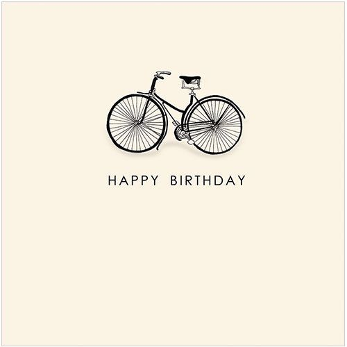 "CODE: WS502 NAME: BICYCLE PRICE: £1.75 Buy now: https://www.phoenix-trading.co.uk/web/km43704/area/shop-online/category/general-birthday/product/WS502/bicycle-new/ Presentation: With a white 100 gsm, 100% recycled envelope. Blank for your own message Paper Type: Matt Textured Embossed Artist: Kate Mawdsley Size: 5 x 5"" : 127 x 127mm"
