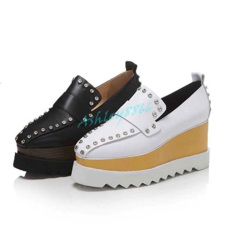 Women Leisure Rivet Paltform Slip On Chic Wedge Heel Oxfords Brogue Shoes Autunm