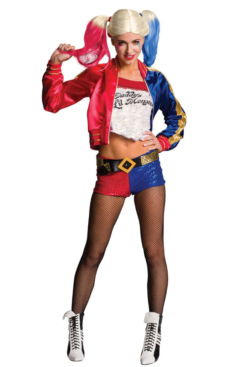 Epäkohtelias ja väkivaltainen Harley Quinn ei ole ihan jokaisen tytön idoli, mutta kieltämättä hahmo on melkoisen mielenkiintoinen ja näyttävä sekä tietenkin äärimmäisen rakastunut Jokeriin. Naamiaisasu on lisensoitu Suicide Squad -tuote. Huomaathan oheistuotteista asusteet, joilla täydennät naamiaisasun tyylin. Naamiaisasu sisältää: - takki sisäänommellulla paidalla - mikrosortsit - sukkahousut - vyö