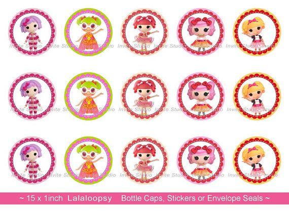 """Tappo di bottiglia Lalaloopsy immagini - INSTANT DOWNLOAD - 1 """"turno Sticker, adesivi sigillo Lalaloopsy busta"""