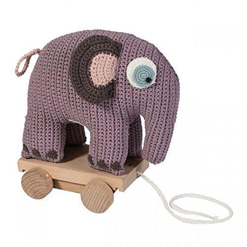 Zieh-Elefant auf Rollen (H: 25 cm) von Sebra Design, pastell-lila