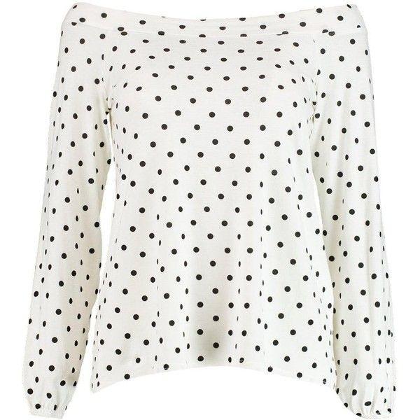Boohoo Dorothy Polka Dot Bardot Top | Boohoo ($14) ❤ liked on Polyvore featuring tops, flat top, dot top, polka dot top, white top and white polka dot top