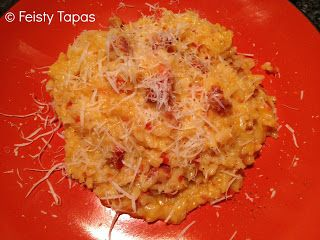 Chorizo red pepper #risotto Thermomix #recipe from @feistytapas