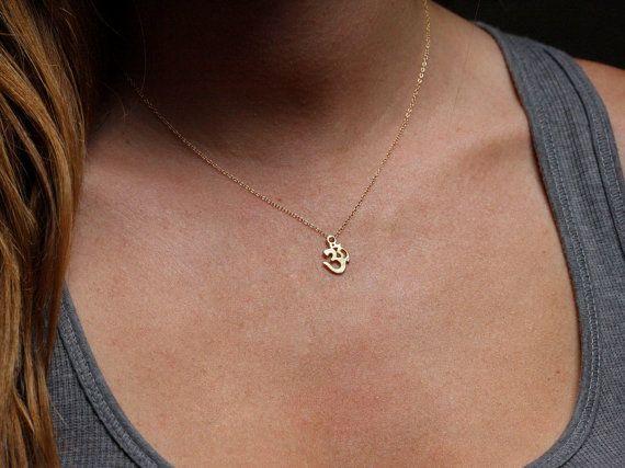 PREORDER  Yoga Necklace Gold Ohm Necklace Yoga by MinimalVS