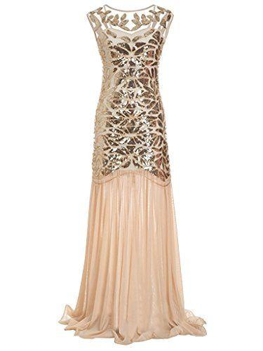 760c0ca2a48d Ohlees Donna 1920s Vestito Paillettes Maxi Lungo Falda Abito Anni 20  Flapper Dress Sera Cocktail Senza