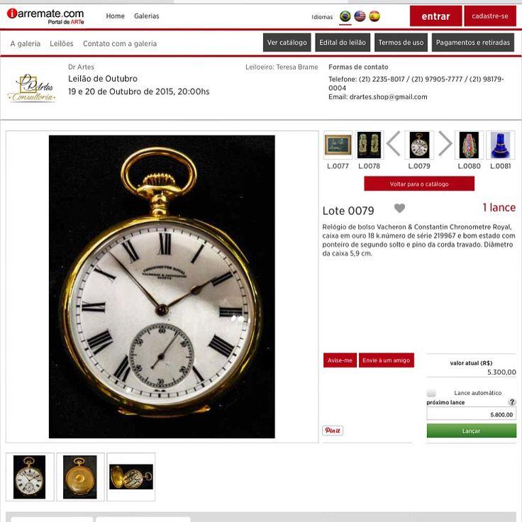 Lote 0079 Relógio de bolso Vacheron & Constantin Chronometre Royal, caixa em ouro 18 k.número de série 219967 e bom estado com ponteiro de segundo solto e pino da corda travado.   Dr Artes  19 e 20 de outubro às 20:00 hs www.iarremate.com    #recoger #relogio #clock #antigues #collection #iarremate #luxury #drartes #decor #precious #leilao #auction #remates #montevideo #madrid #barcelona #buenosaires #santelmo #iarremate #riodejaneiro #copacabana #recoleta