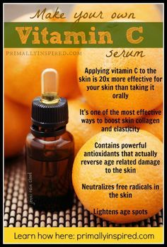 Learn how to make your own Homemade Vitamin C Serum! Vitamin C lightens age spots, helps produce more collagen and reverses age related damage to the skin! PrimallyInspired.com