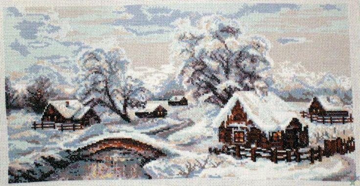 Схема вышивки зимней деревни от #Риолис 100-002 ✅Скачать http://stitchlike.ru/mevl👈 #stitchlike_riolis #зима #пейзаж