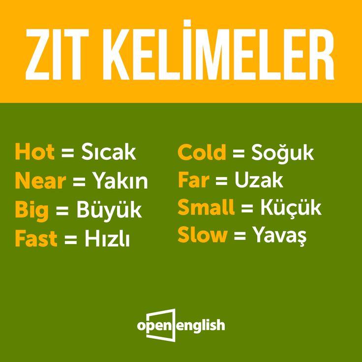 Zıt kelimelere gelin birlikte göz atalım!  #OpenEnglish