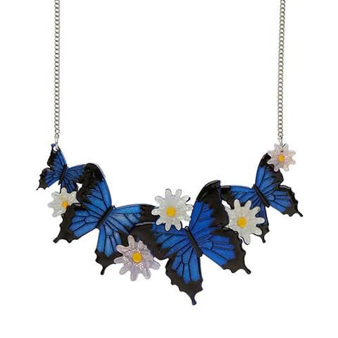 """Erstwilder Collectable Tropical Odyssey  Necklace. """"Brilliant versatile and full of guile. Are we talking about the legendary Greek king of Ithaca or this resplendent blue butterfly. Why not both?"""""""