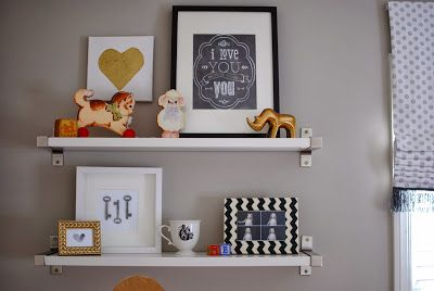 kid's room shelving; gold, pink and grey girl's room.