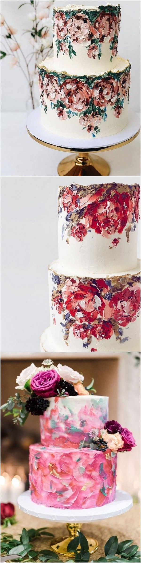 Trending-20 Gorgeous Hand-painted Wedding Cakes for 2019