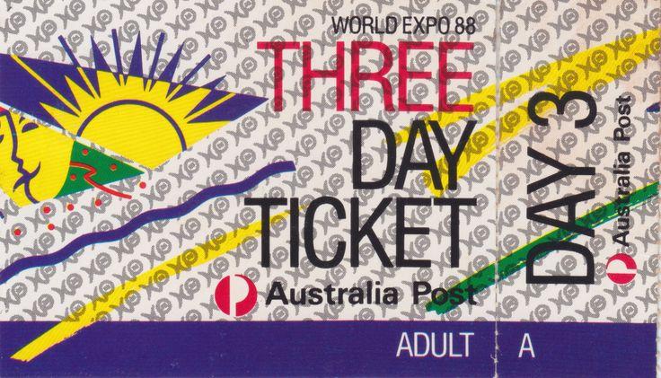 World Expo 88, Three Day Ticket, Brisbane, 1988.