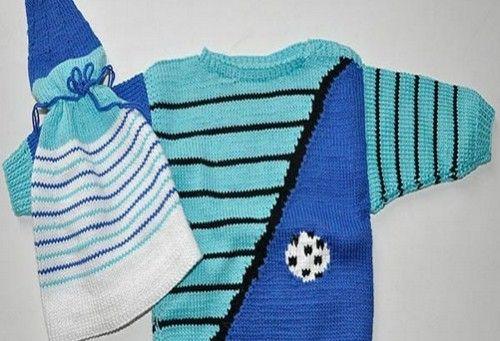 mavi-çizgili-erkek-bebek-kazağı-ve-şapkası
