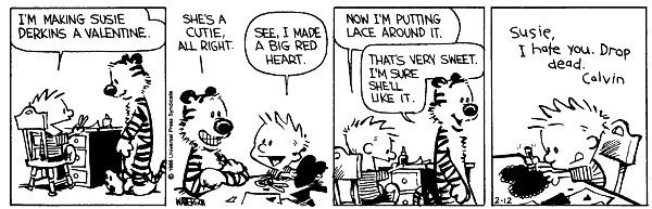 Image result for calvin and hobbes valentines