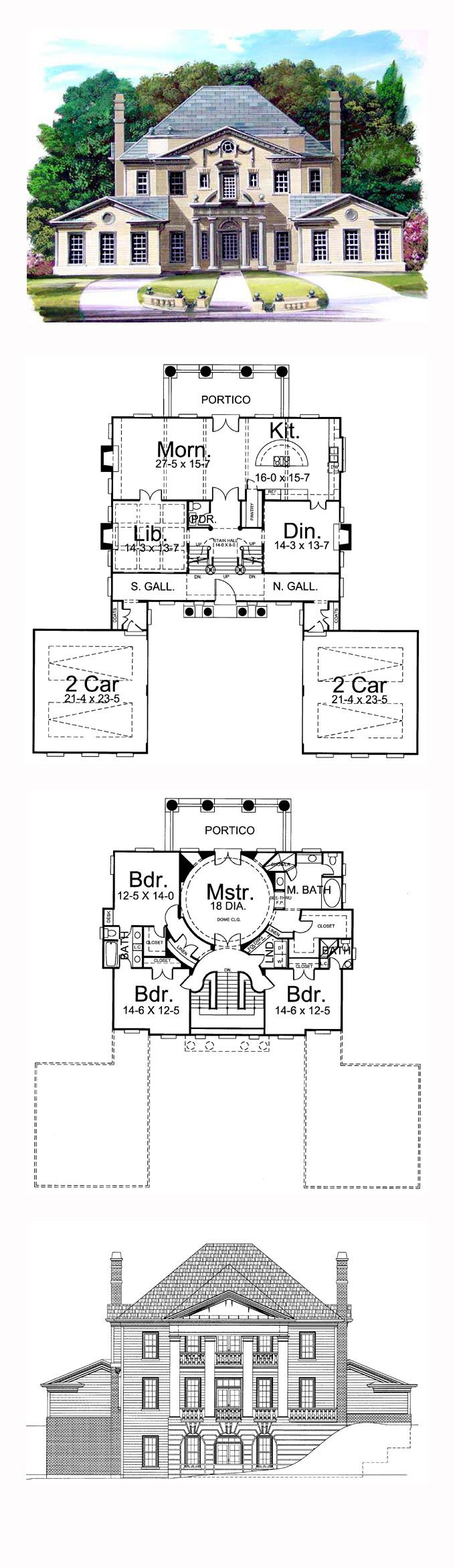 Greek Revival House Plan 72049 | Total Living Area: 3270 sq. ft., 4 bedrooms and 3 bathrooms. #greekrevivalhome
