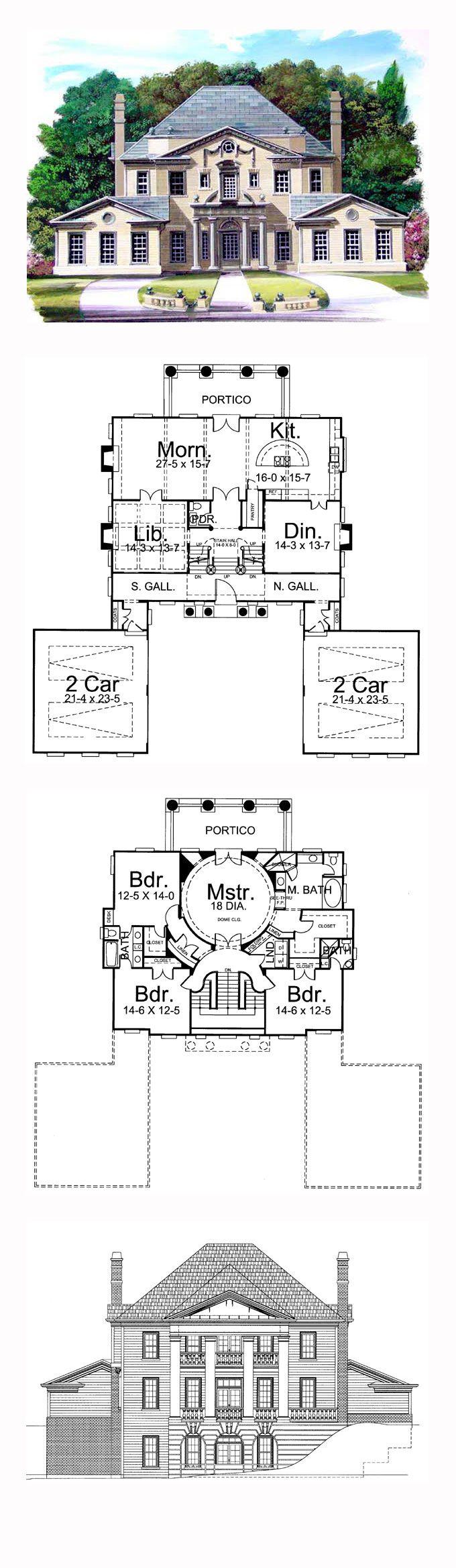 Greek Revival House Plan 72049 | Total Living Area: 3270 sq. ft., 4 bedrooms and 3 bathrooms. #greekrevivalhome