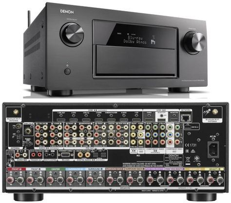 Denon AVR-X7200W Home Theater Receiver: Front and Rear View of the Denon AVR-X7200W Home Theater Receiver