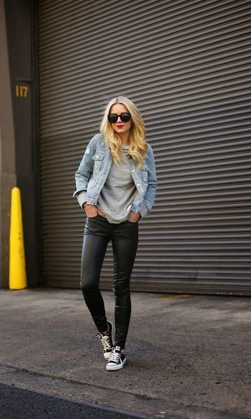 Look: Jaqueta Jeans + Calça de Couro