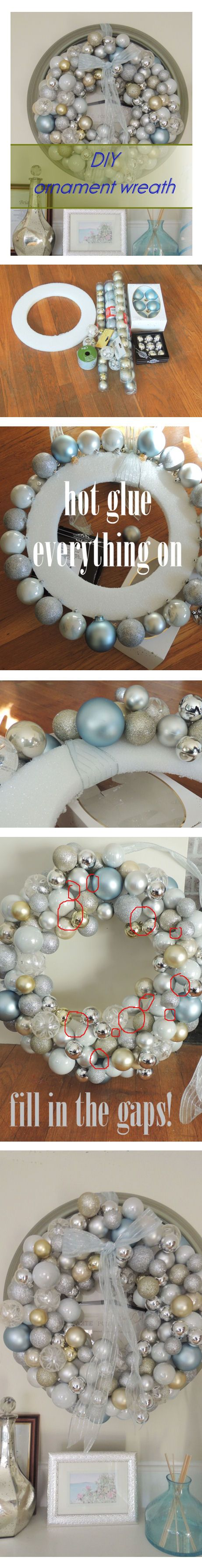DIY Christmas ornament wreath - perfect for all the random Christmas balls I have accumulated over the years that somehow don't make the cut onto the tree!