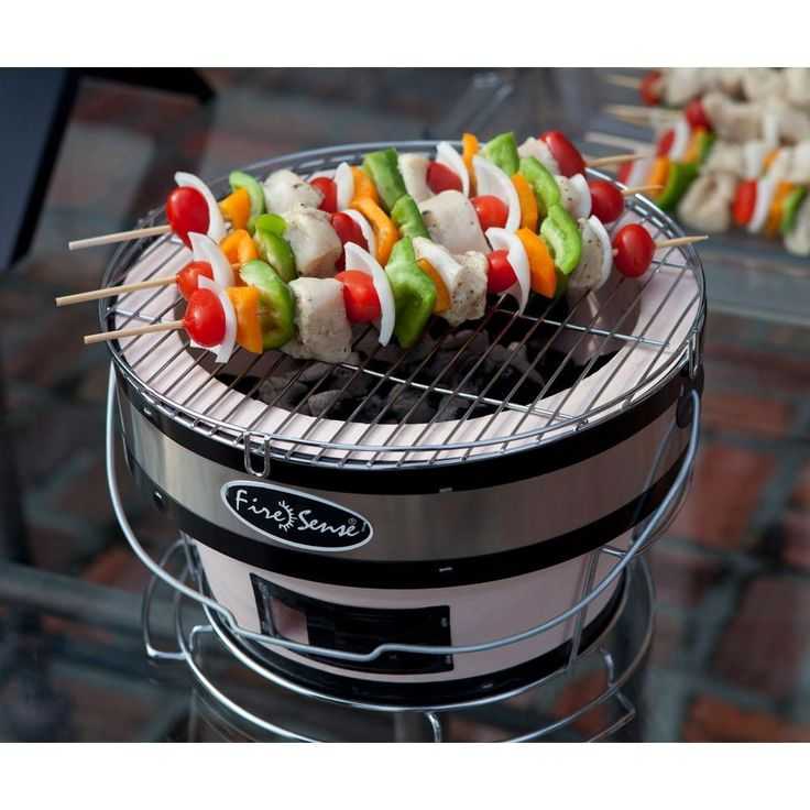 The Yakatori table top grill is able to maintain a constant grilling temperature because it's lined with ceramic clay. This traditional Japanese street grill design is compact and easy to transport (to your tailgate?), and it cooks delicious, juicy kabobs.