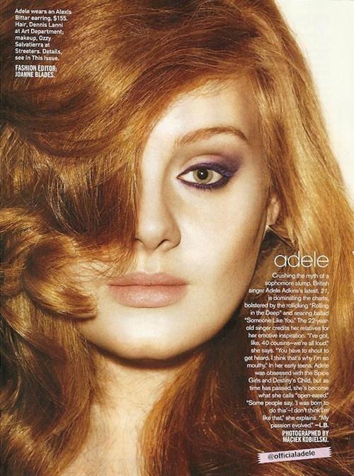 Adeeleeeeeeeeleleleeelelelele: Teen Vogue, Hair Colors, Eye Makeup, Cat Eye, Red Hair, Adele Adele, Green Eyeshadows, Smokey Eye, Music Artists