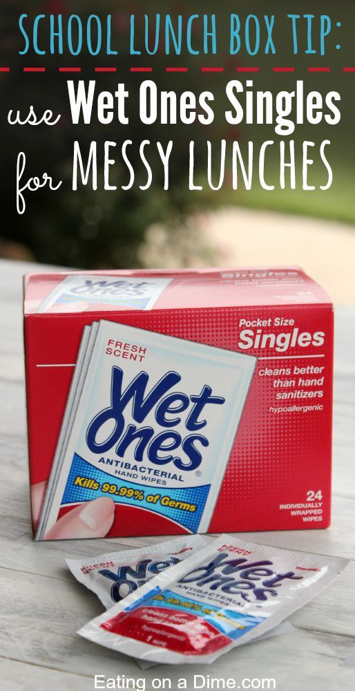 "Today's easy tip for school - Use Wet ones in Your School Lunch Box for Quick Clean ups - I love these for my kids especially when I send them a fun and ""messy"" lunch. #ad"