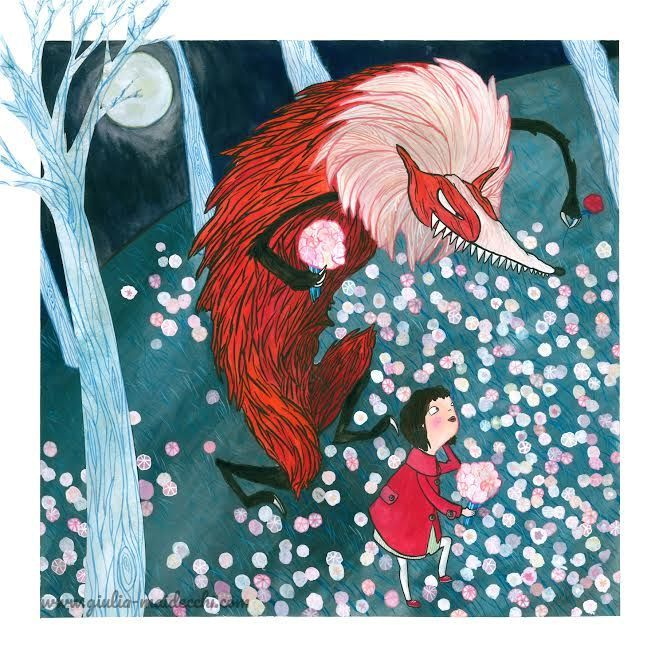 Giulia Maidecchi * April and spring - Gathering primroses with the werewolf during a full moon night in the forest. Illustration for a Calendar Contest organised by Città del Sole.