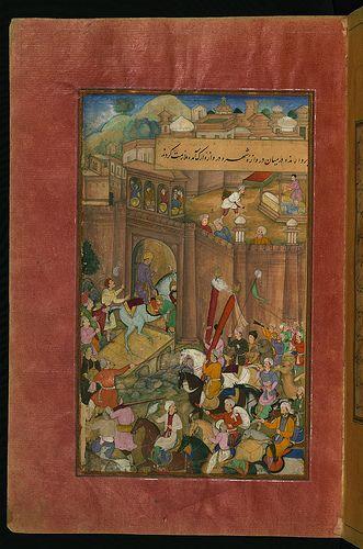 Babur entering Kabul, from Illuminated manuscript Baburnama (Memoirs of Babur), Walters Art Museum Ms. W.596, fol.16a   by Walters Art Museum Illuminated Manuscripts
