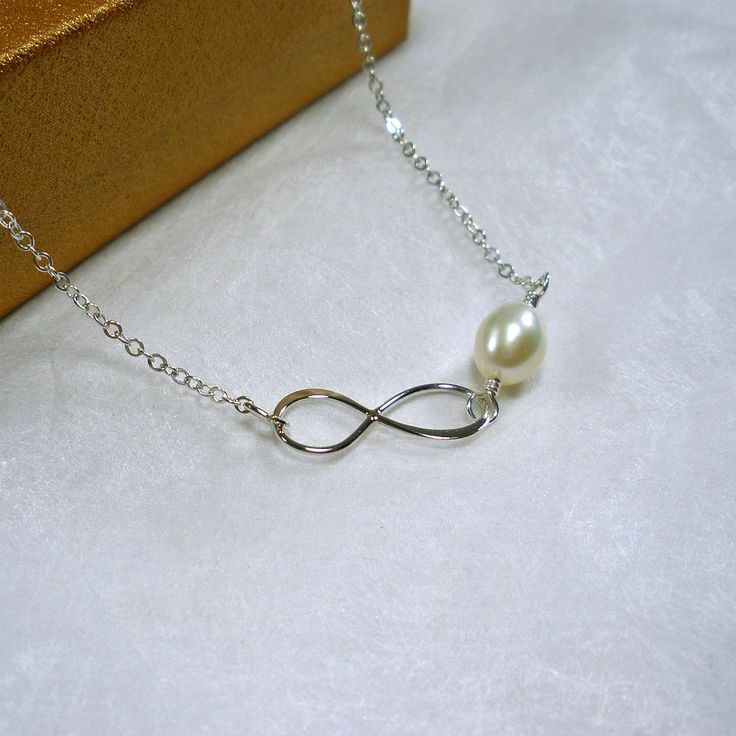 Infinity Necklace Sterling Silver Infinity Jewelry, freshwater white pearl, mom, sister, friend, In laws wedding gift, friendship jewelry by StarringYouJewelry on Etsy