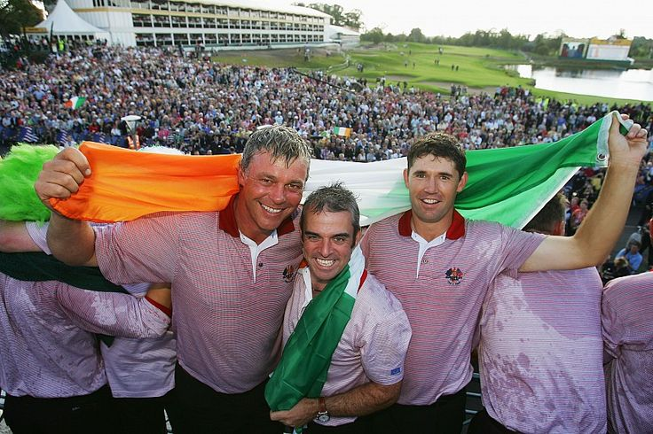 Darren Clarke, Paul McGinley and Padraig Harrington at the end of The Ryder Cup