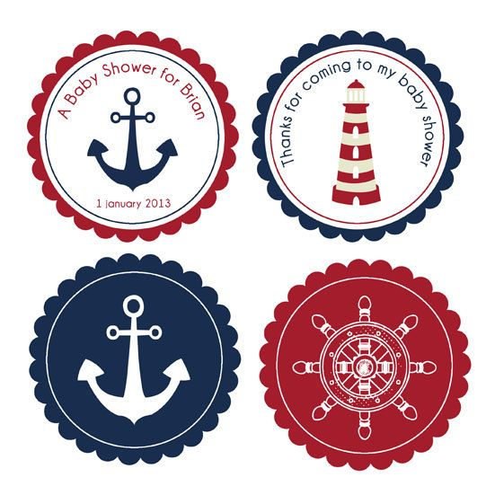 Nautical cupcake toppers printable - 4 designs - Blue Navy and red - Custom color, text and size included in the price on Etsy, $6.92