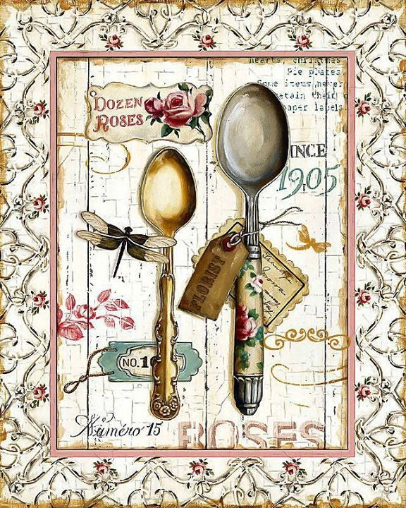 M s de 1000 ideas sobre cucharas en pinterest cucharas - Laminas decorativas vintage ...